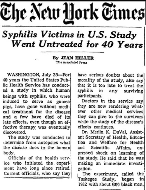 USRF - Effects ... Congenital Syphilis Experiment